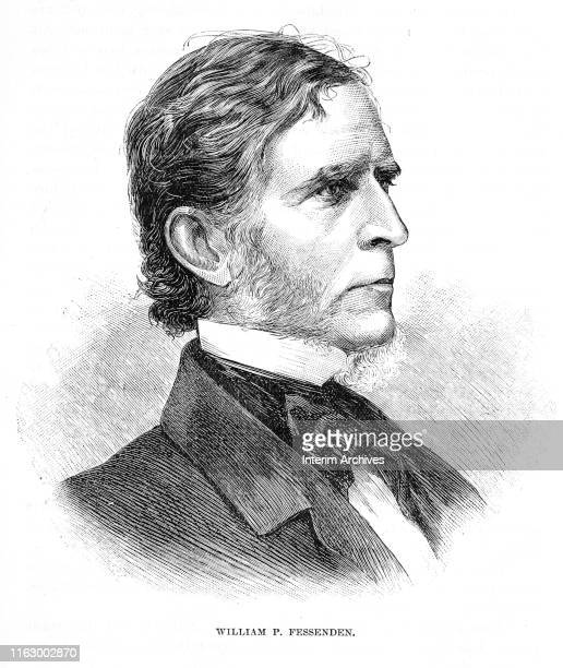 Portrait of American politician and senator from Maine William Fessenden , circa 1860s. It appeared in Charles Carleton Coffin's book, 'Abraham...