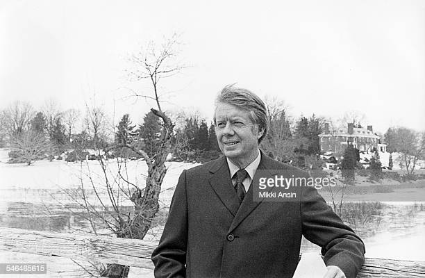Portrait of American politician and US Presidential candidate Jimmy Carter on the North Bridge during campaign stop Concord Massachusetts 1976
