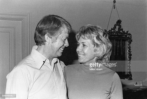 Portrait of American politician and US Presidential candidate Jimmy Carter and his sister Ruth Carter Stapleton during his campaign Boston...