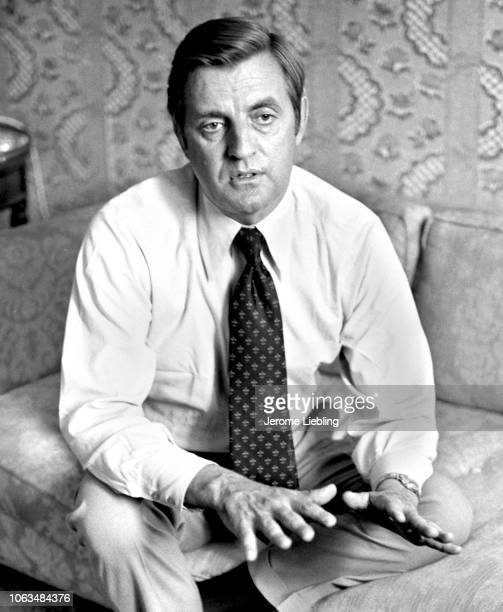 Portrait of American politician and US Senator Walter Mondale as he sits on a couch during an interview in a suite at the Americana Hotel New York...