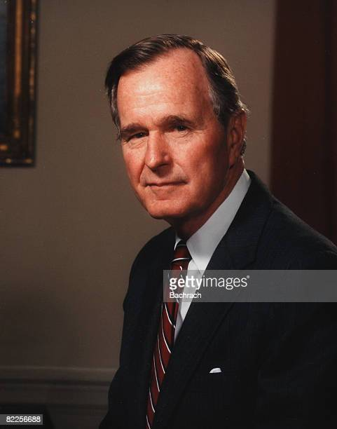A portrait of American politician George Herbert Walker Bush the 41st President of the United States in the Oval Office Washington DC 1991