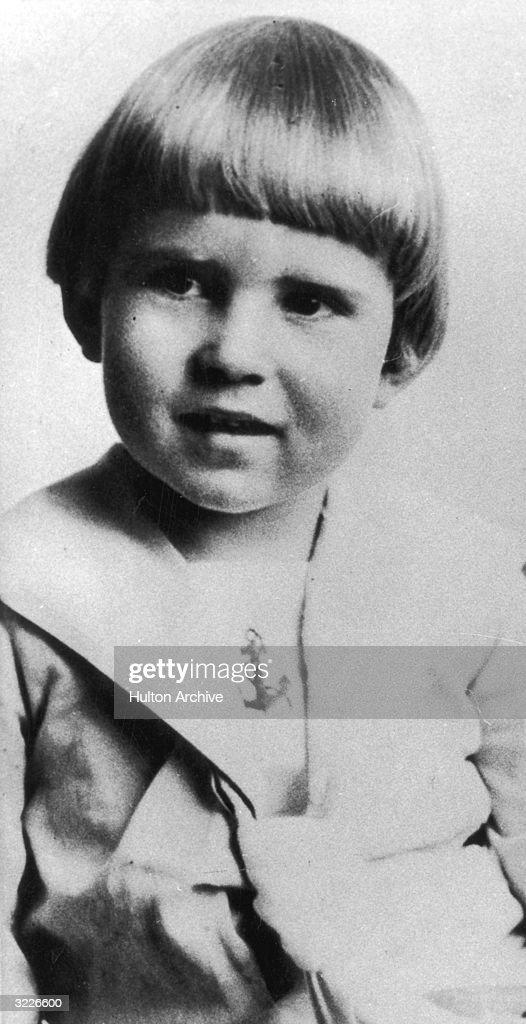 Portrait of American politician Richard Nixon at age four in a sailor suit.