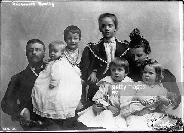 Portrait of American politician Theodore Roosevelt , the 26th President of the United States, with his second wife, Edith Carow Roosevelt, and his...