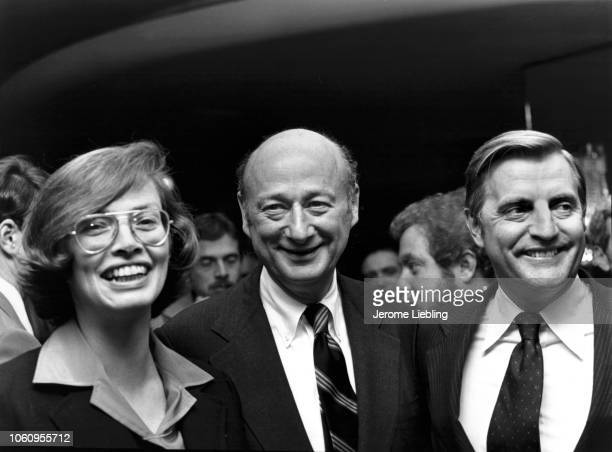 Portrait of American politicians from left New York State Senator Carol Bellamy newlyelected New York City Mayor Ed Koch and US Vice President Walter...