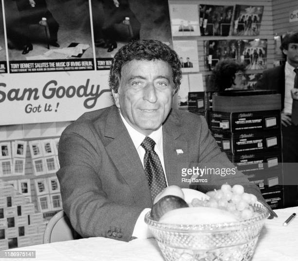 Portrait of American Pop and Jazz singer Tony Bennett during a signing for his album 'Bennett/Berlin' at a Sam Goody record store New York New York...