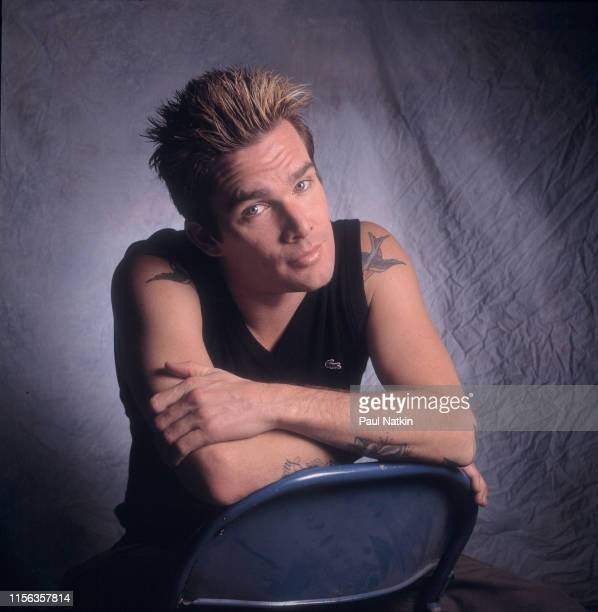 Portrait of American Pop and Rock musician Mark McGrath of the group Sugar Ray as he poses backstage at the Odeum Villa Park Illinois September 5 2001