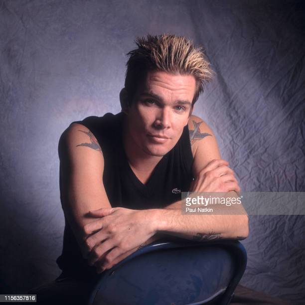 Portrait of American Pop and Rock musician Mark McGrath, of the group Sugar Ray, as he poses backstage at the Odeum, Villa Park, Illinois, September...