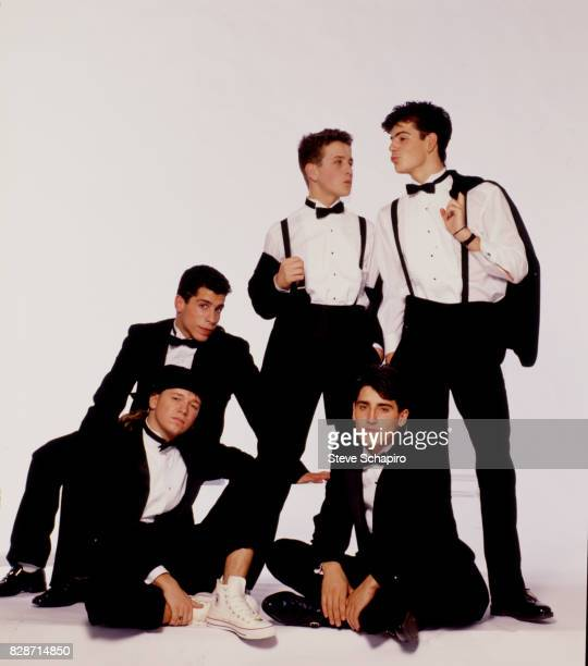 Portrait of American pop group New Kids on the Block posed against a white background Los Angeles California 1989 Pictured are from left Donnie...