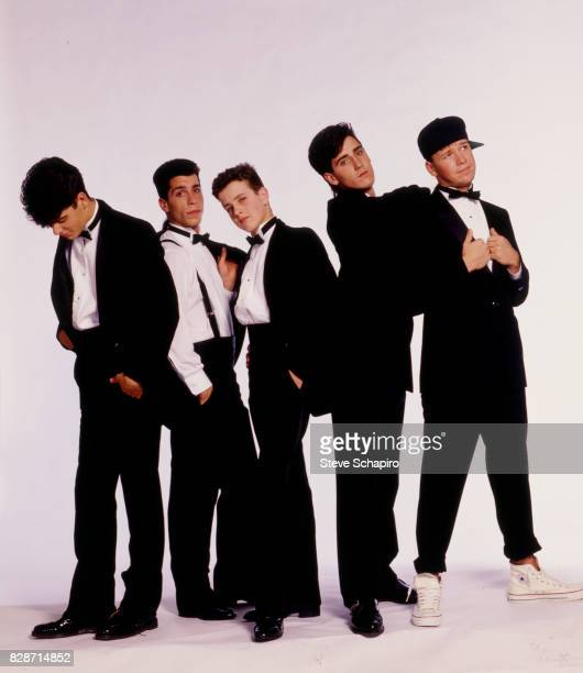 Portrait of American pop group New Kids on the Block posed against a white background Los Angeles California 1989 Pictured are from left Jordan...