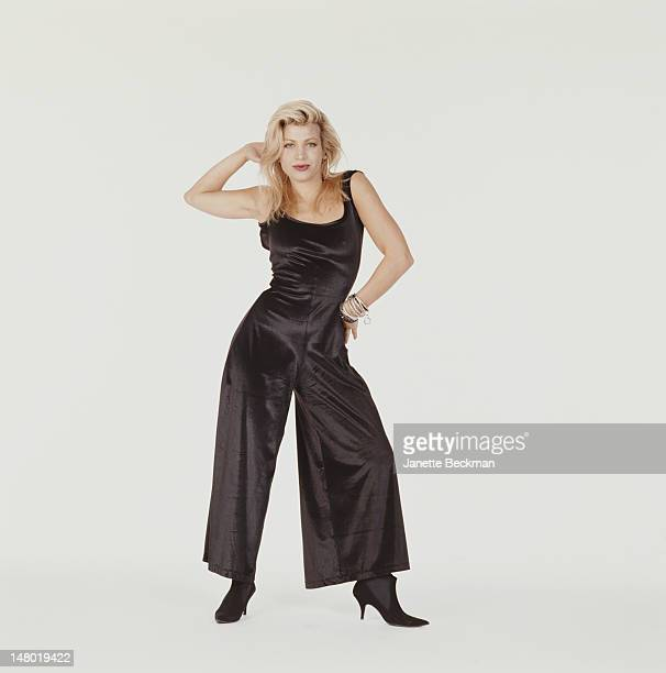 Portrait of American pop singer Taylor Dayne as she poses against a white background New York New York 1989