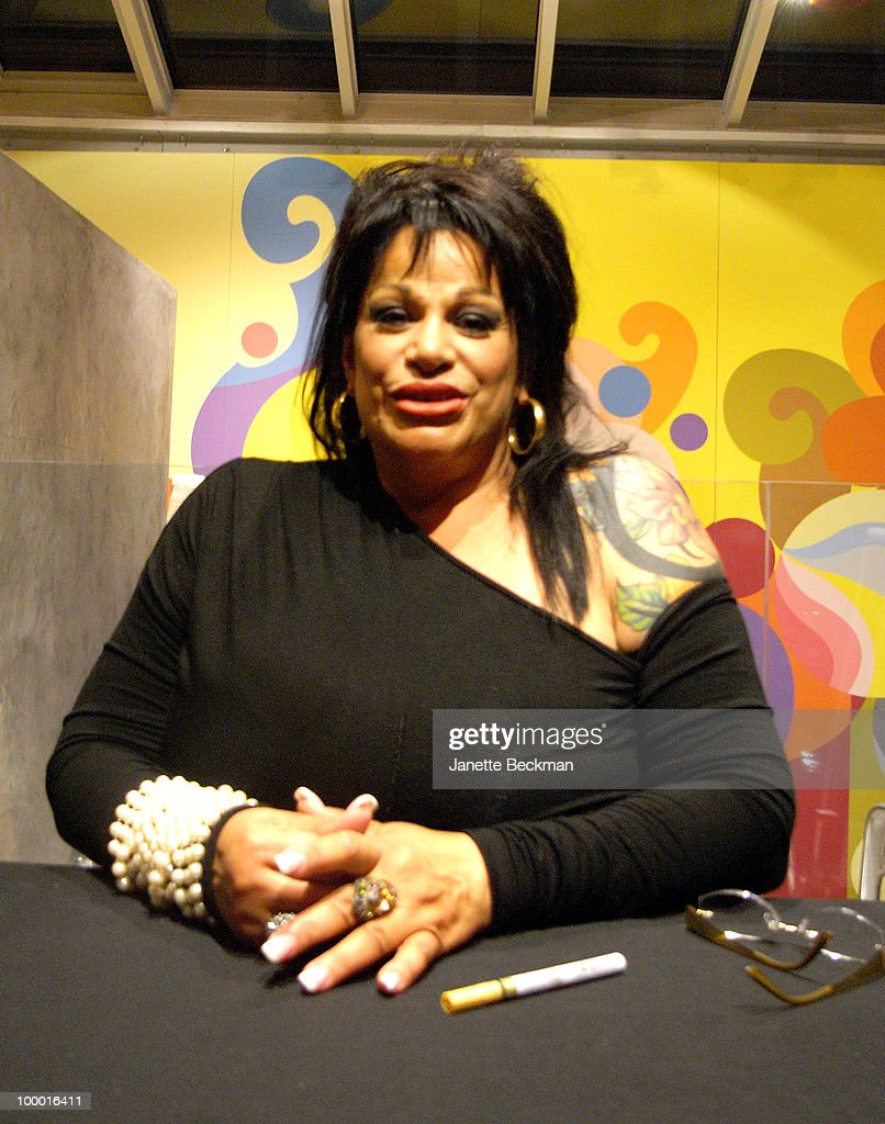 Portrait of American pornographic actress Vanessa Del Rio (born Ana Maria Sanchez) at a book signing to promote her biography 'Fifty Years of Slightly Slutty Behavior' at the Taschen Store, New York, New York, May 7, 2010.