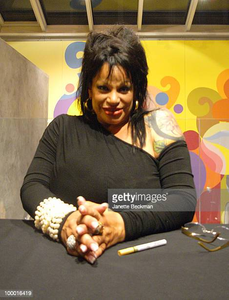 Portrait of American pornographic actress Vanessa Del Rio at a book signing to promote her biography 'Fifty Years of Slightly Slutty Behavior' at the...