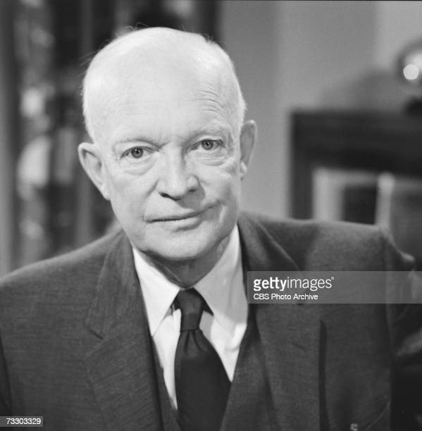 Portrait of American President Dwight D. Eisenhower on CBS Reports, late May, 1961.
