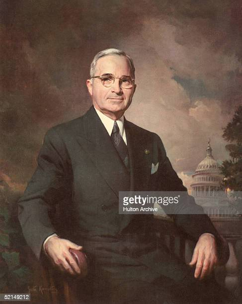 Portrait of American president Harry Truman painted by American painter Greta Kempton 1948 This was the first of five official portaits Kempton...
