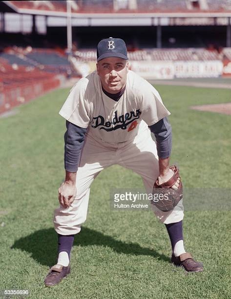 Portrait of American professional baseball player Duke Snider center fielder for the Brooklyn Dodgers in an empty stadium 1950s