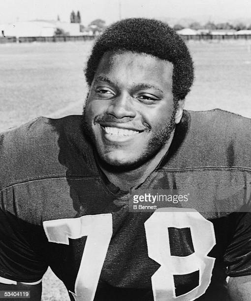 Portrait of American professional football player Art Shell of the Oakland Raiders 1970s