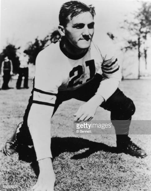 Portrait of American professional football player Dan Fortmann guard for the Chicago Bears in his team uniform 1930s Drafted by the Bears in 1936...