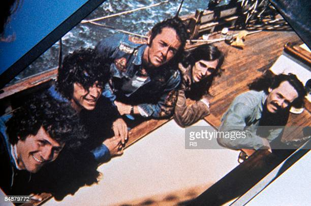 Portrait of American Psychedelic Rock group Quicksilver Messenger Service on the deck of a sailboat circa 1970 Pictured are from left David Freiberg...