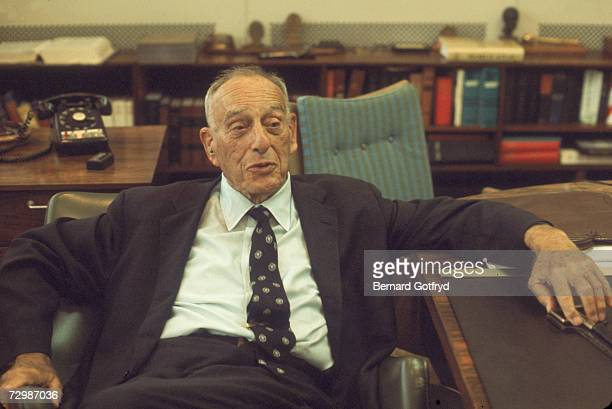 Portrait of American public official and city planner Robert Moses as he sits in his office on Randall's Island New York New York 1978
