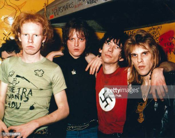 Portrait of American Punk band the Dead Boys as they pose backstage at CBGBs nightclub New York New York late 1978 Pictured are from left Cheetah...