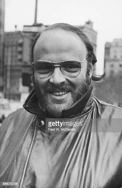 Portrait of American radio journalist Bob Fass as he attends a rally in support of the Black Panther Party at the Federal Court House in Foley Square...