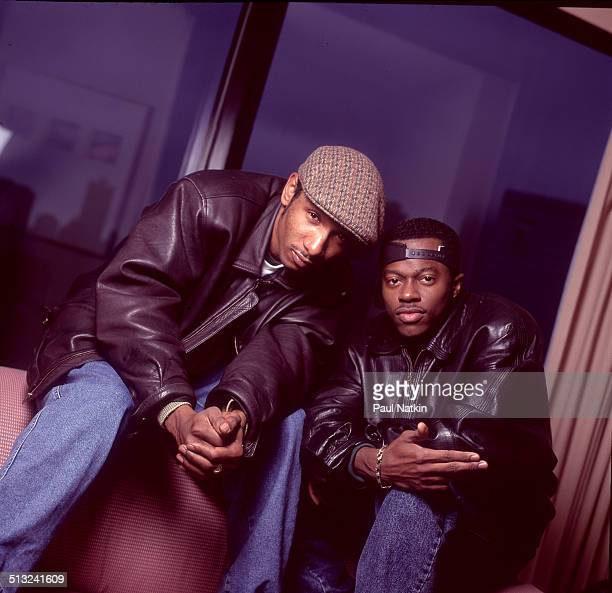 Portrait of American rap duo Black Sheep as they pose in the Nikko Hotel Chicago Illinois November 16 1994Pictured are Andres 'Dres' Titus and...