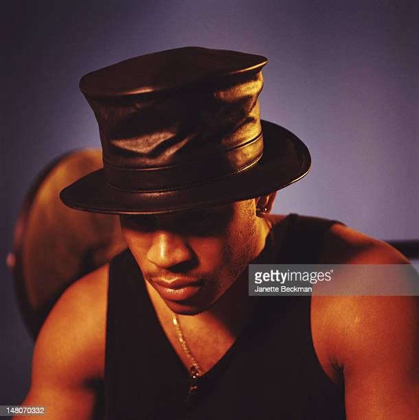 Portrait of American rapper LL Cool J in a leather top hat New York New York 1992