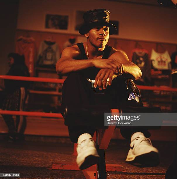Portrait of American rapper LL Cool J in a leather top hat New York New York 0f7e29903c8d