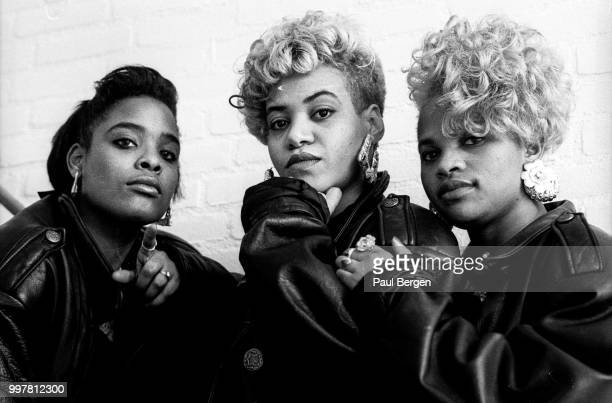 Portrait of American rb and hiphop/rap trio SaltnPepa Hilversum Netheralnds 1 November 1988 LR Deidra Roper Cheryl James and Sandra Denton