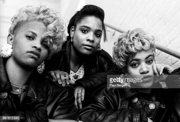 Portrait of American rb and hiphop/rap trio SaltnPepa Hilversum Netheralnds 1 November 1988 LR Sandra Denton Deidra Roper Cheryl James