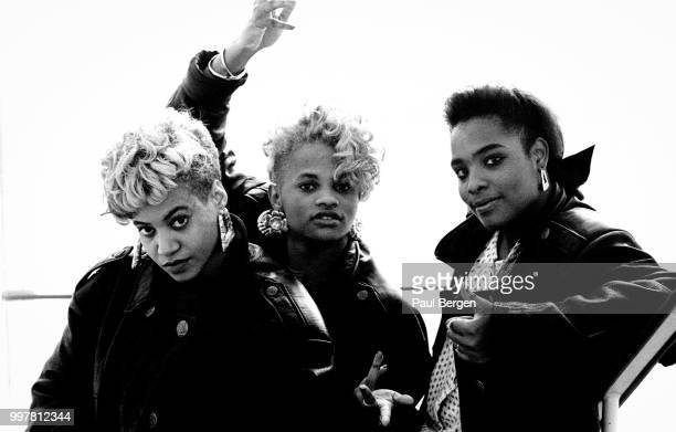 Portrait of American rb and hiphop/rap trio SaltnPepa Hilversum Netheralnds 1 November 1988 LR Cheryl James Sandra Denton Deidra Roper