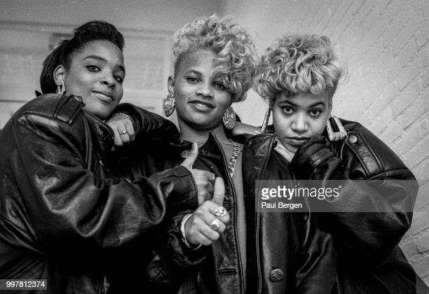 Portrait of American rb and hiphop/rap trio SaltnPepa Hilversum Netheralnds 1 November 1988 LR Deidra Roper Sandra Denton Cheryl James