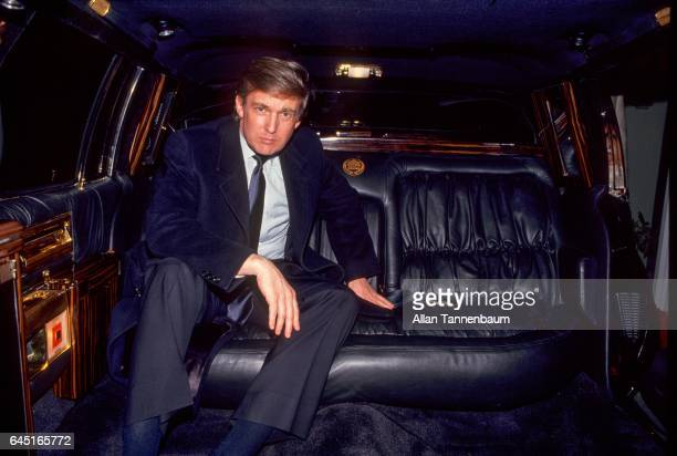 Portrait of American real estate developer Donald Trump as he sits in his limousine Atlantic City New Jersey January 13 1988