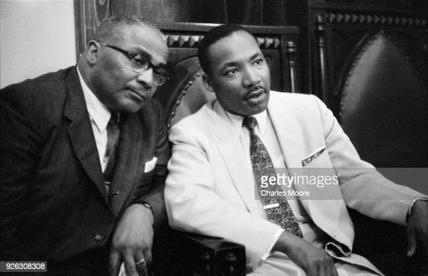 Portrait of American religious and Civil Rights leaders Reverend Martin Luther King Sr and his son Reverend Martin Luther King Jr as they pose sideby...