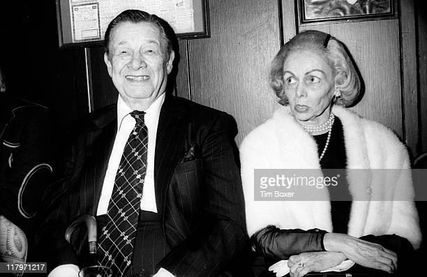 Portrait of American restaurateur Toots Shor and his wife Marion Shor during the publication party for Earl Wilson's book 'Sinatra An Unauthorized...