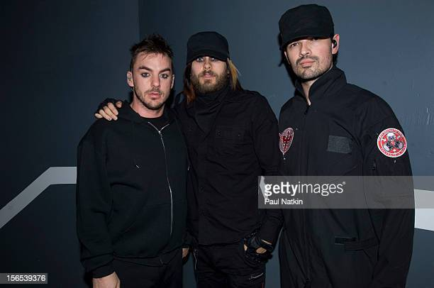 Portrait of American rock band 30 Seconds to Mars backstage at the Aragon Ballroom Chicago Illinois March 16 2007 Pictured are from left Shannon Leto...
