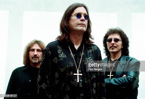 Portrait of American rock band Black Sabbath with lead singer Ozzy Osbourne , bassist Geezer Butler and guitarist Tony Iommi, Amsterdam, Netherlands,...