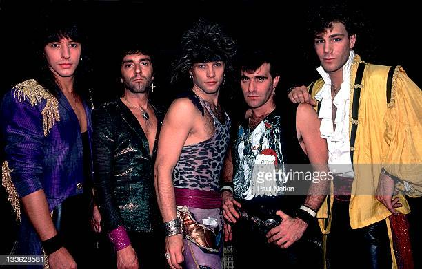 Portrait of American rock band Bon Jovi backstage before a performance at Summerfest Milwaukee Wisconsin June 29 1985 Pictured are from left Alec...
