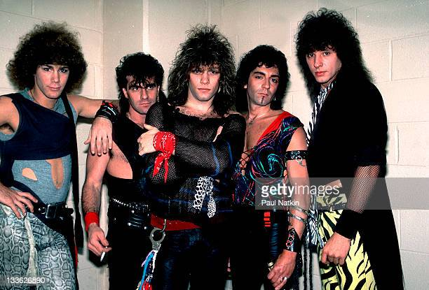 Portrait of American rock band Bon Jovi backstage before a performance at the Rosemont Horizon Rosemont Illinois May 20 1984 Pictured are from left...