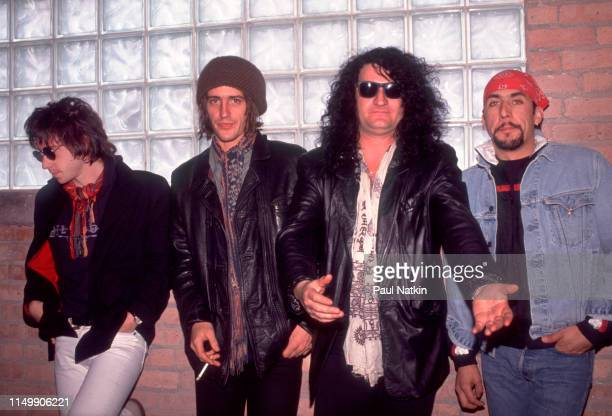 Portrait of American Rock group Izzy Stradlin and the Ju Ju Hounds at an unspecified rehearsal space, Chicago, Illinois, May 15, 1992. Pictured are,...