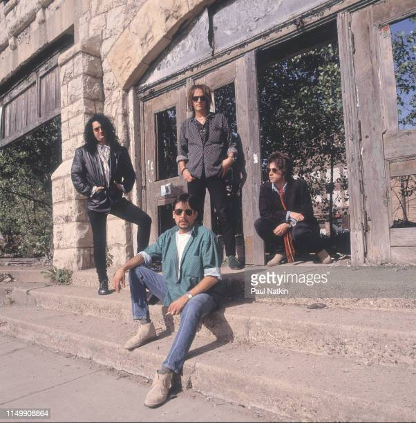 Portrait of American Rock group Izzy Stradlin and the Ju Ju Hounds, Chicago, Illinois, May 10, 1992. Pictured are, from left, Rick Richards, Charlie...