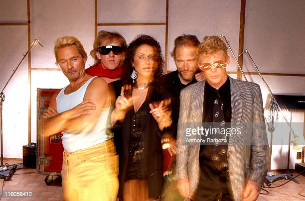 Portrait of American rock group Jefferson Airplane Los Angeles California early 1990s Pictured are from left Marty Balin Paul Kantner Grace Slick...