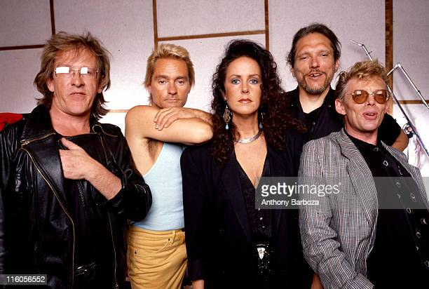 Portrait of American rock group Jefferson Airplane Los Angeles California early 1990s Pictured are from left Paul Kantner Marty Balin Grace Slick...