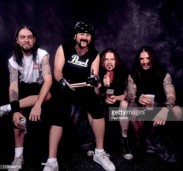 Portrait of American Rock group Pantera backstage at the World Music Theater Tinley Park Illinois June 19 1997 Pictured are from left Rex Brown...