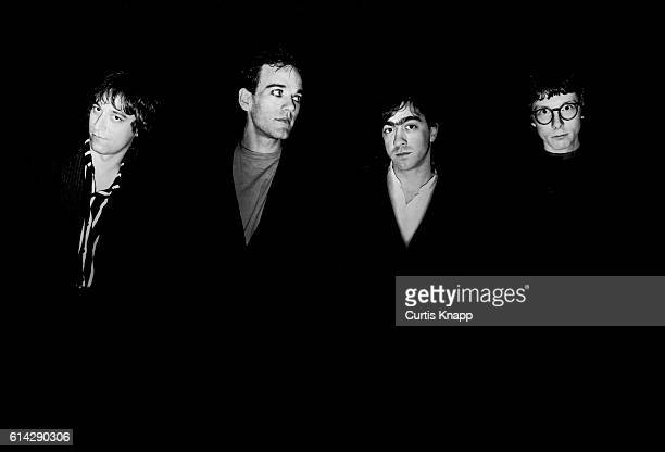 Portrait of American rock group REM Tokyo late 1980s Pictured are from left Pete Buck Michael Stipe Bill Berry and Mike Mills