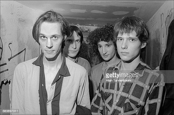 Portrait of American Rock group Television from left Tom Verlaine Richard Lloyd Billy Ficca and Fred Smith as they pose backstage at CBGB New York...