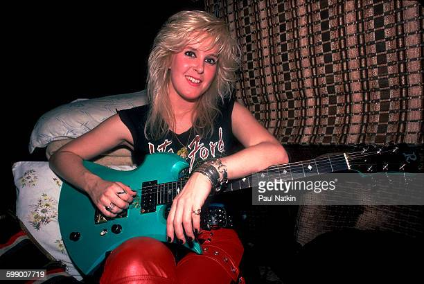 Portrait of American Rock musician Lita Ford as she poses in her tour bus Chicago Illinois September 30 1984