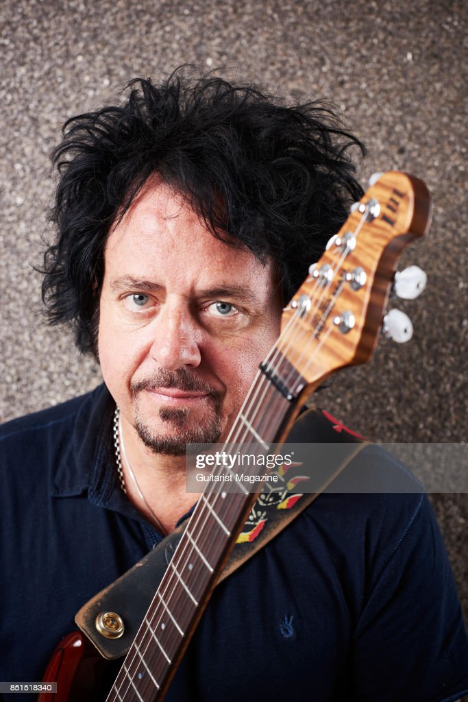 Portrait of American rock musician Steve Lukather, photographed with his Ernie Ball Music Man LIII electric guitar backstage at Notodden Blues Festival in Norway, taken on August 5, 2016.