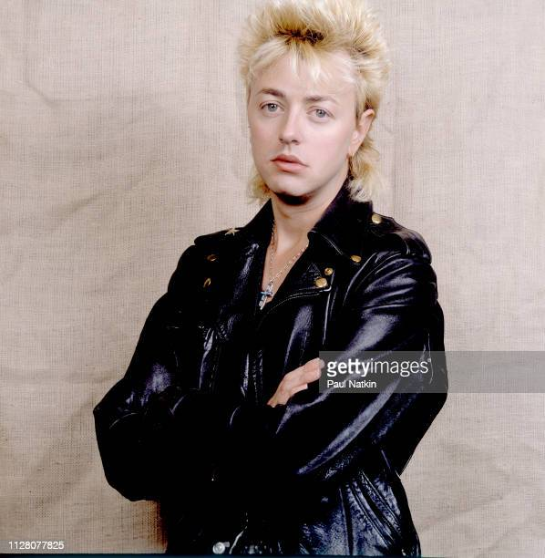 Portrait of American Rockabilly and Rock musician Brian Setzer as he poses in an unspecified rehearsal studio New York New York April 2 1986