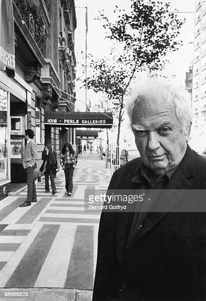 Portrait of American sculptor Alexander Calder as he poses on Madison Avenue just north of 78th Street New York New York 1970s
